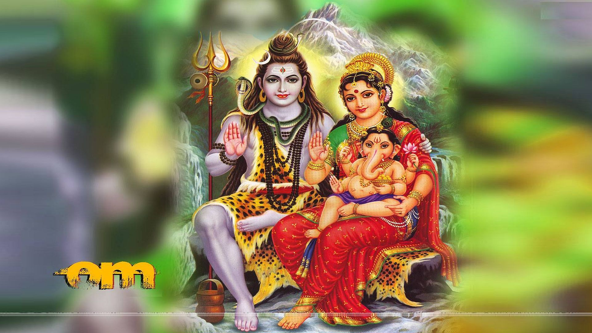 Lord Ganesh With Shiva And Parvati Picture