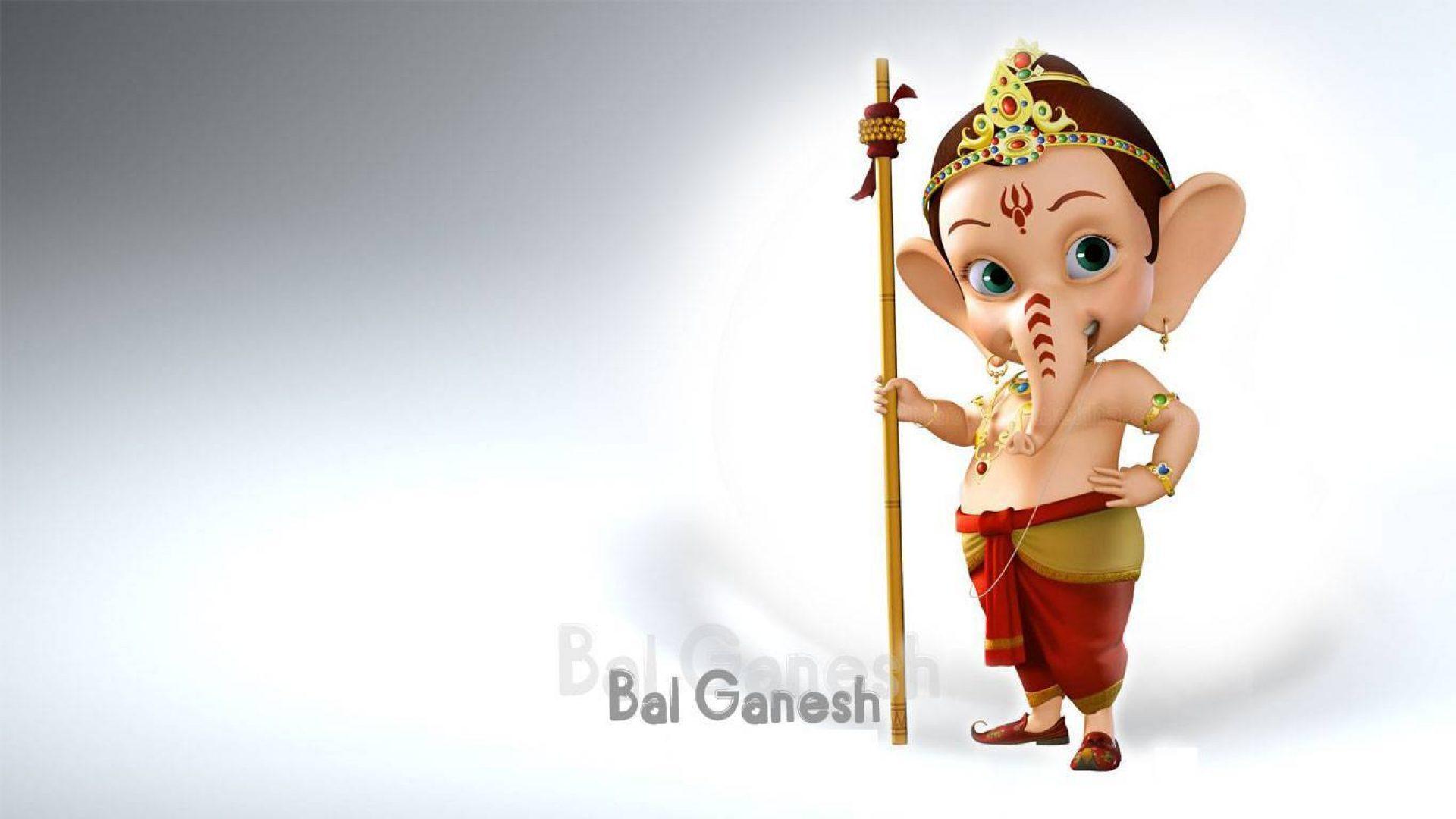 Ganpati Hd Wallpapers 1920x1080: Little Bal Ganesh 3D HD Wallpaper 1366×768