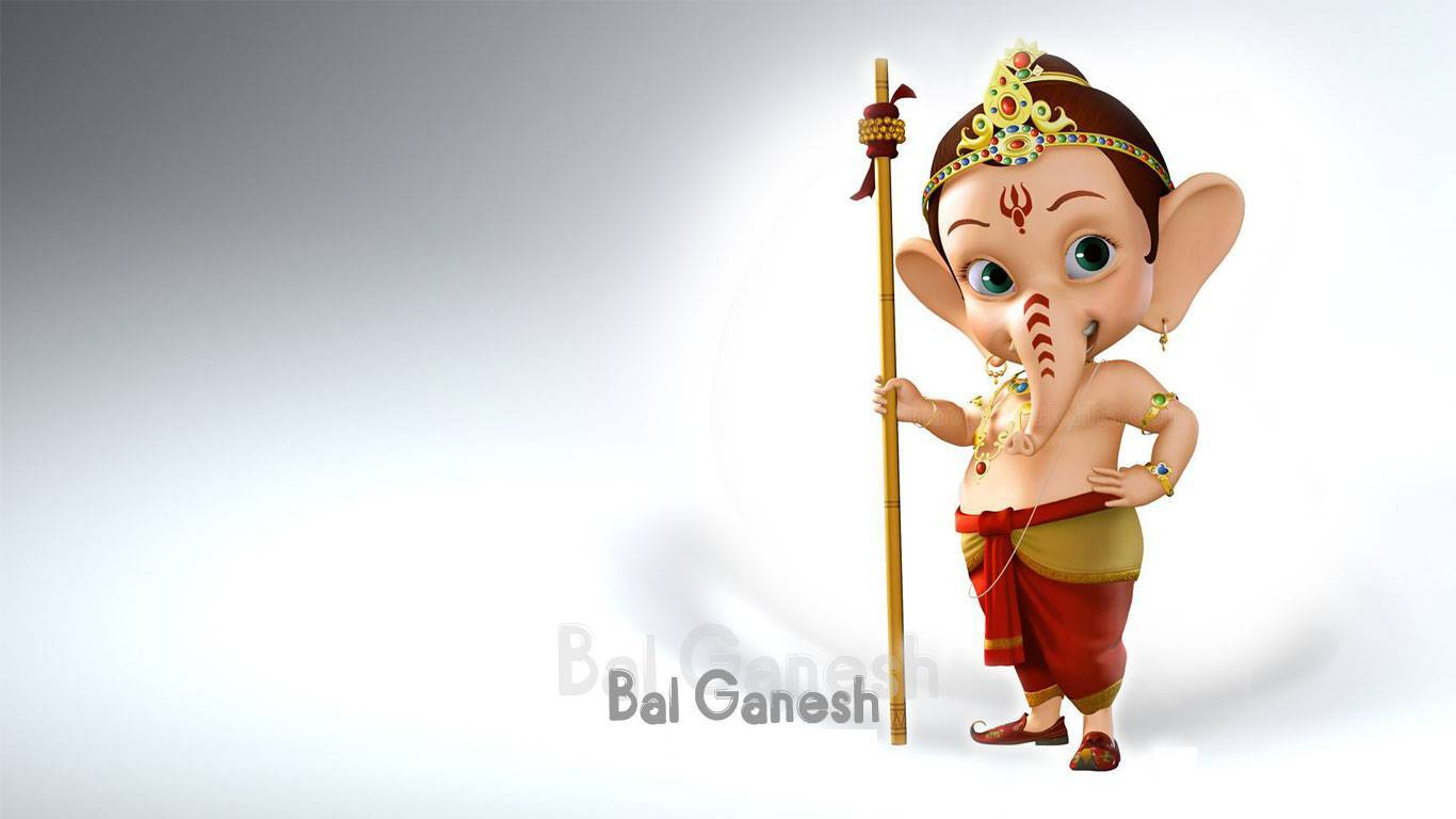 Little Bal Ganesh 3D HD Wallpaper 1366×768