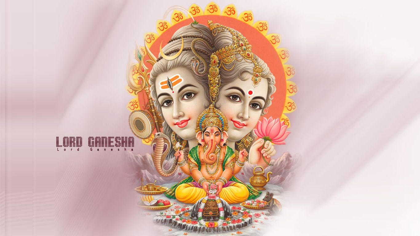 Shree Ganesh With Shiv And Maa Parvati