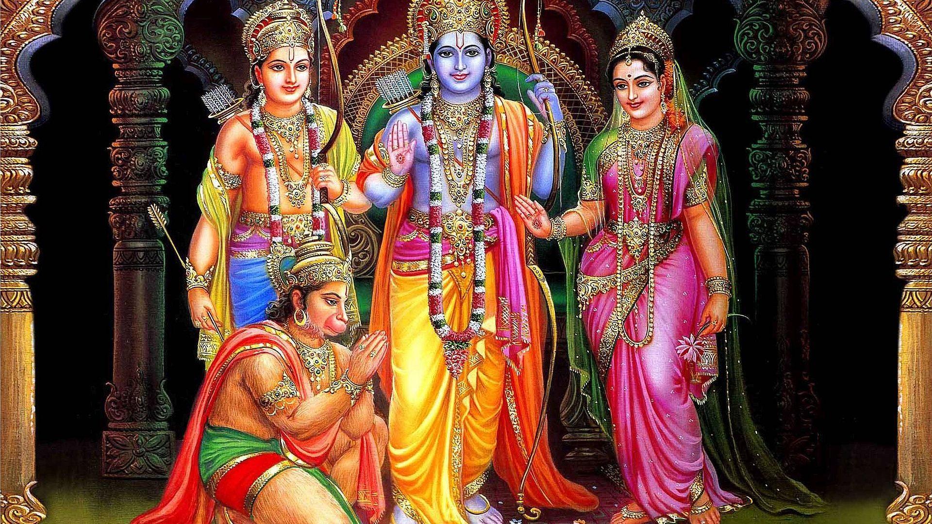 Lord Hanuman With Ram Sita And Lakshman Hd Wallpaper