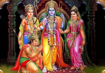 Lord Hanuman With Ram Sita And Lakshman Hd Wallpaper