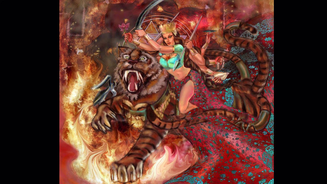 Abstract Paintings Of Goddess Durga Goddess Maa Durga