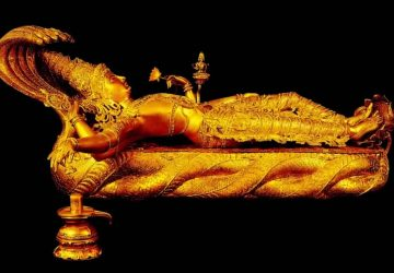 Gold Tatue Of Lord Vishnu 1366×768