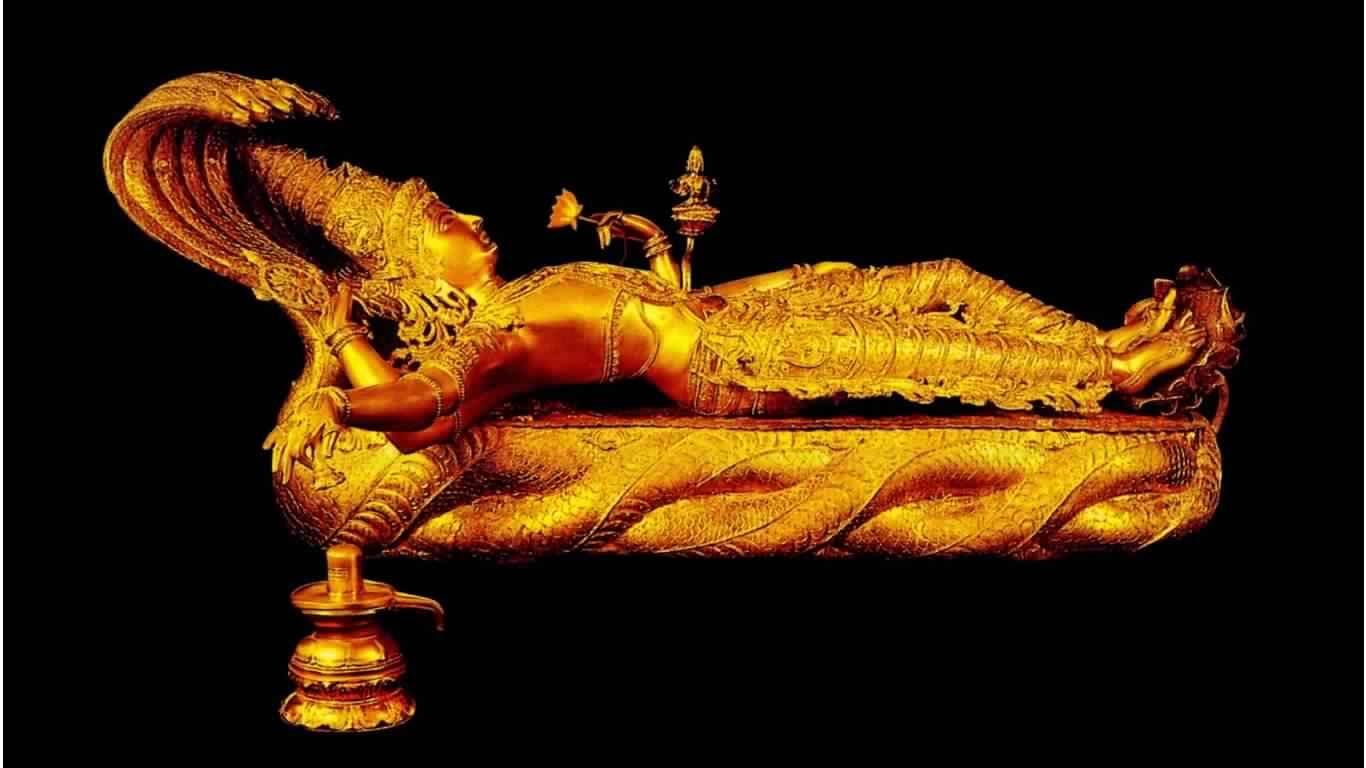 Gold Tatue Of Lord Vishnu 1366×768