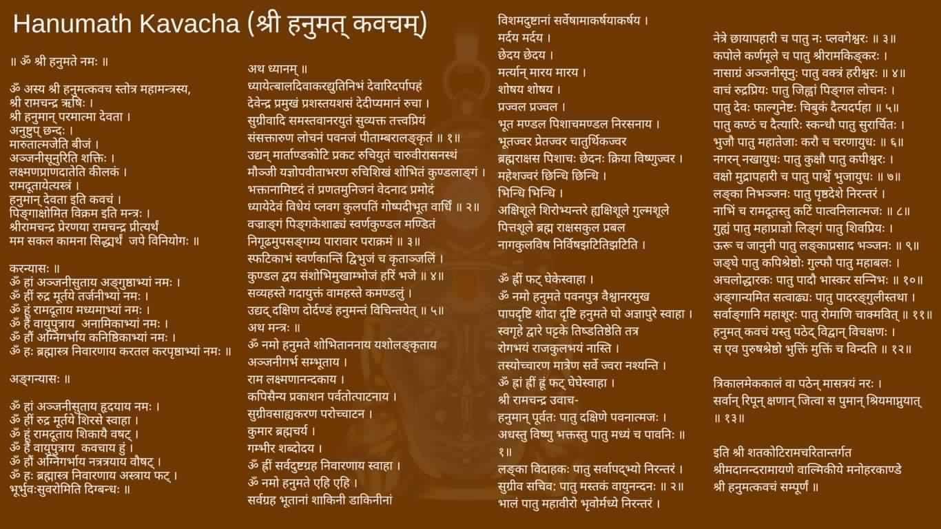 Hanumath Kavacha In Sanskrit