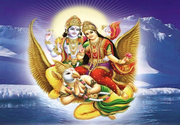 Image Of Lord Vishnu And Goddess Lakshmi On Garuda