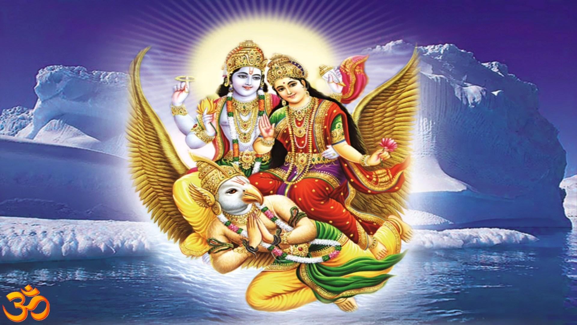 Image Of Lord Vishnu And Goddess Lakshmi On Garuda