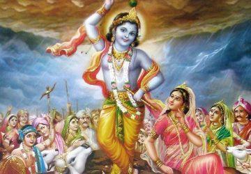 Krishna Photo With Govardhan Parvat