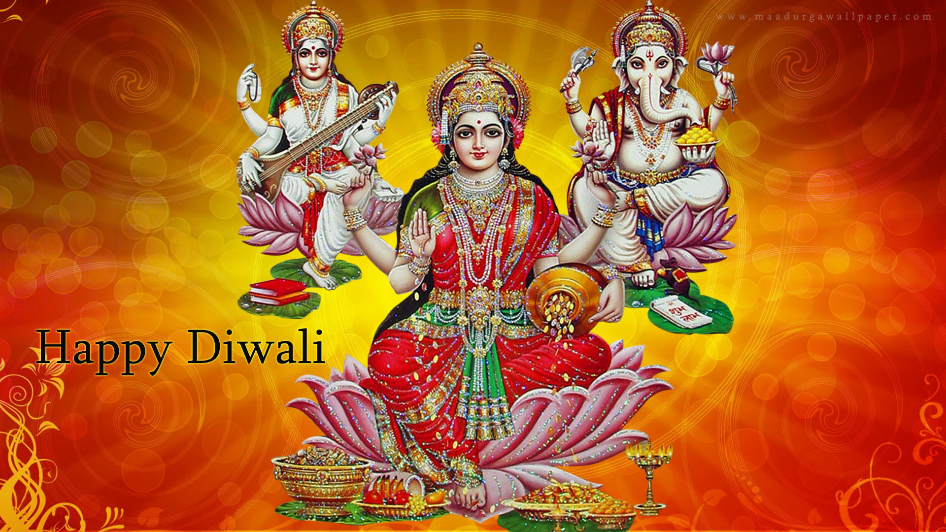 Happy DiwaliLakshmi Ganesh Saraswati Desktop Wallpapers Hd