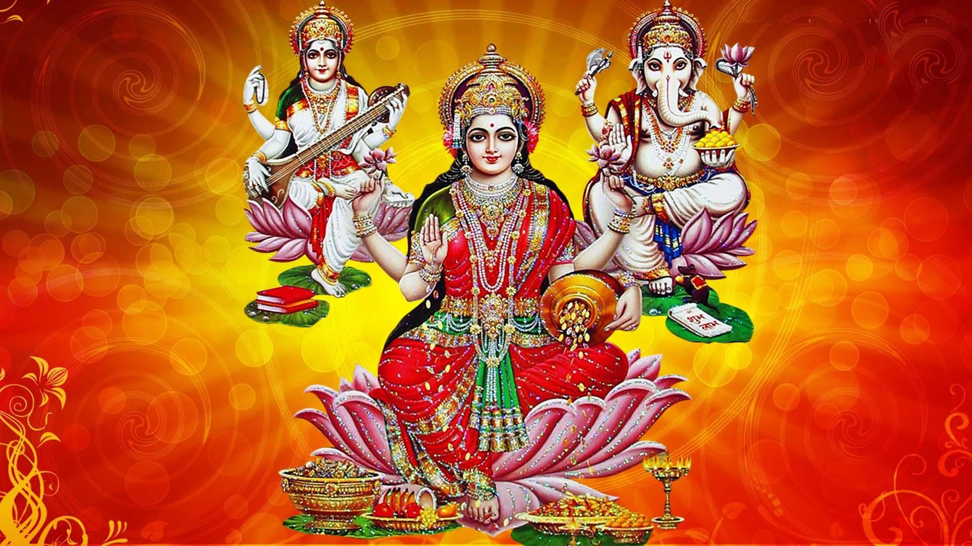 Laxmi Ganesh Saraswati Full Hd Wallpaper Goddess Maa Lakshmi