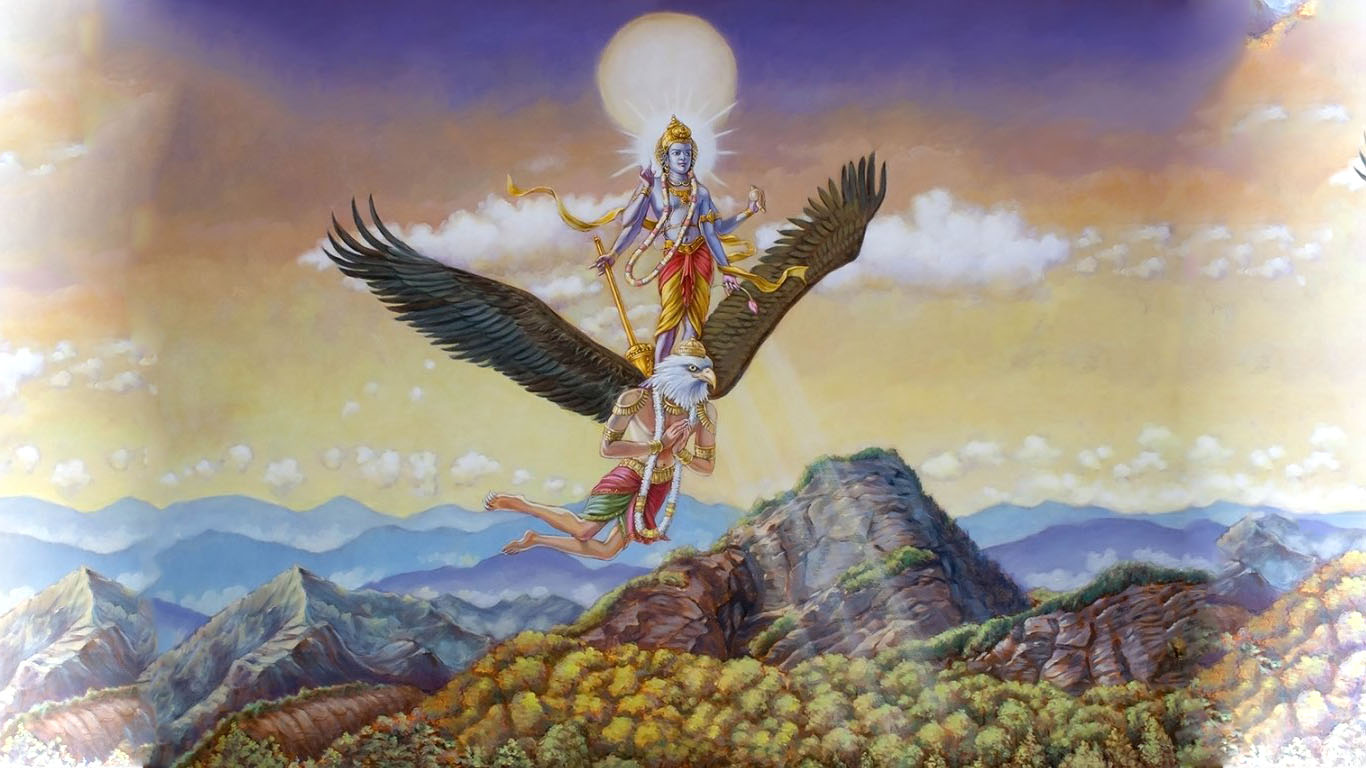 Lord Vishnu On Garuda Photo