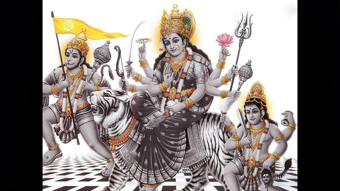 Maa Durga Hanuman Image