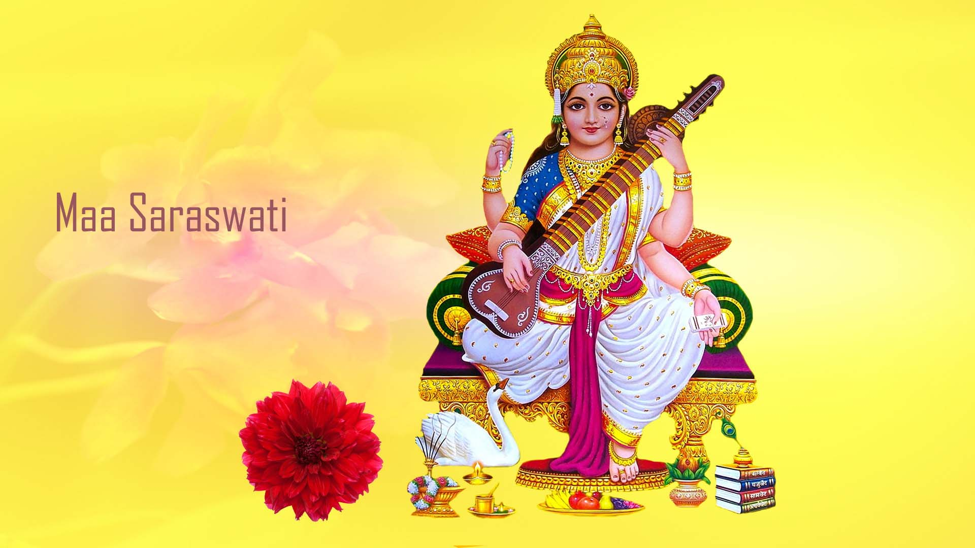 Maa Saraswati 3d Wallpaper New
