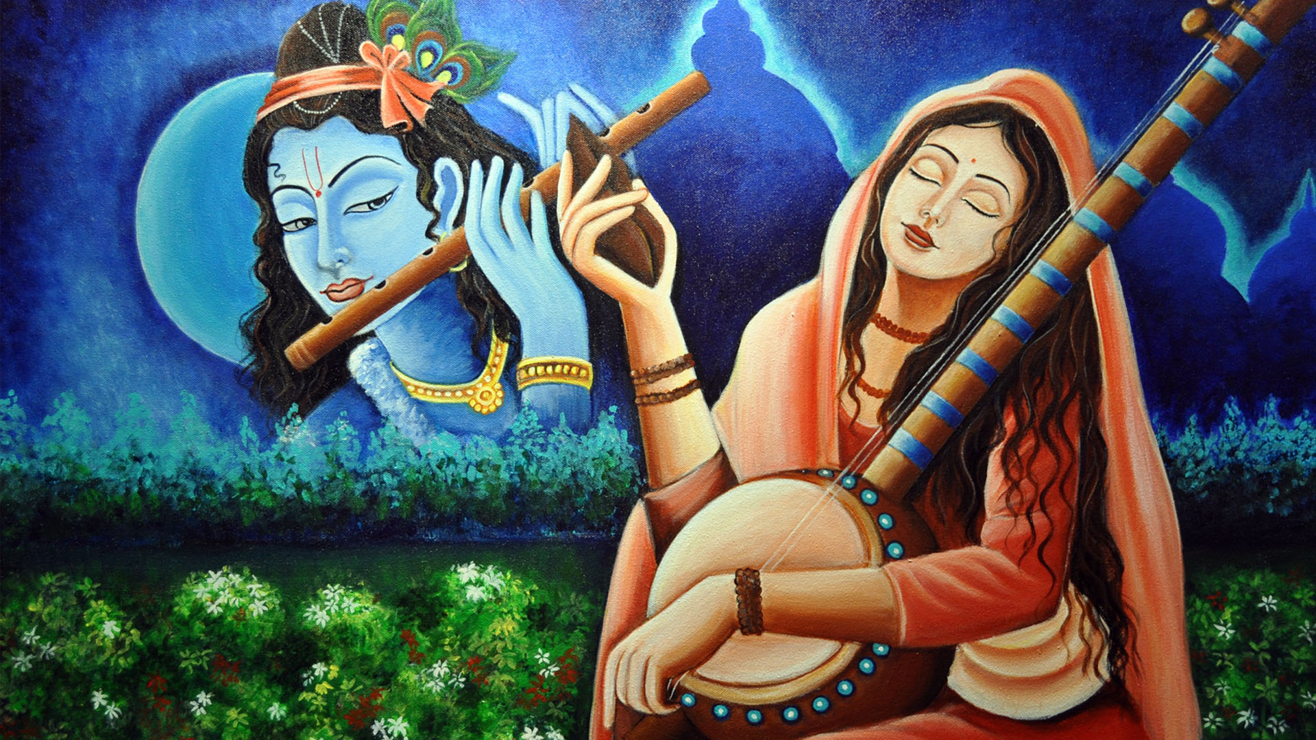 Meera Bai With Krishna Wallpaper Paintings