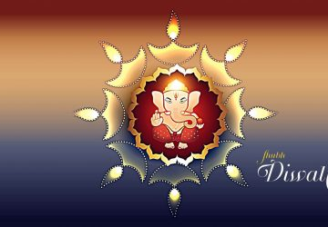 Happy Diwali Abstract Art Lord Ganesha