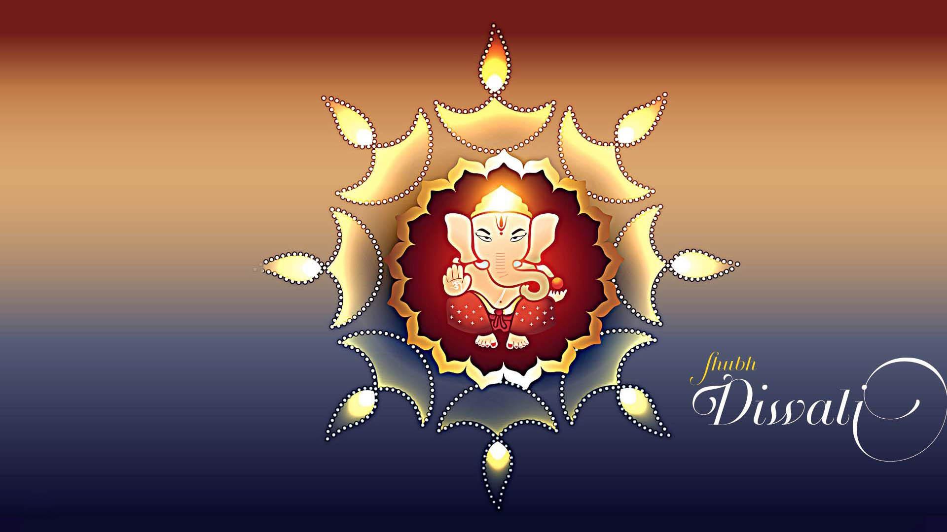 Happy Diwali Abstract Art Lord Ganesha