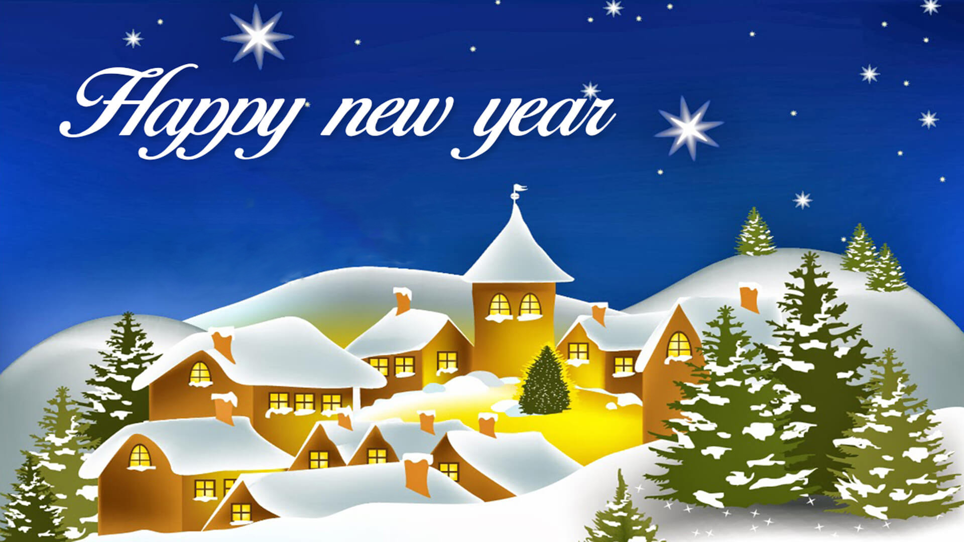 happy new year wishes famous quotes snow hut tree light