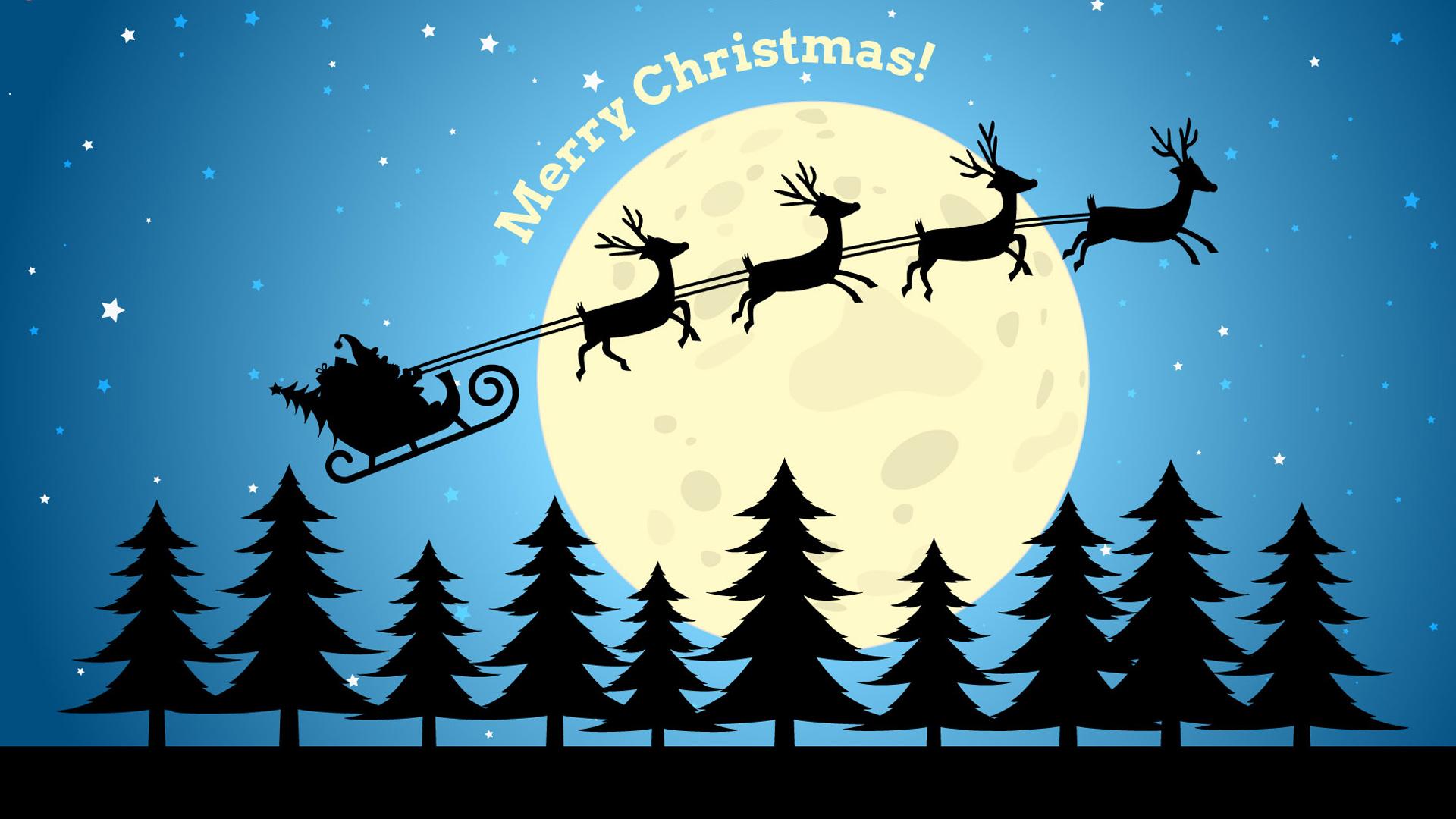 Merry Christmas Reindeer Cart And Full Moon Wallpaper Hd