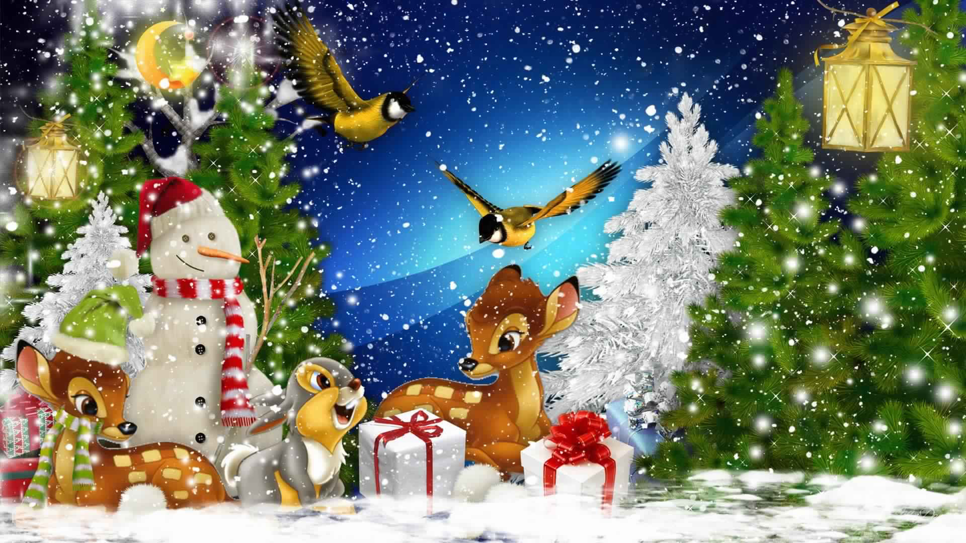 Santa Winter Bambi Thumper Christmas Snowy Snowman Birds Deer Trees Bunny Snow Gifts Winter Rabbit Wallpaper Pictures Hd