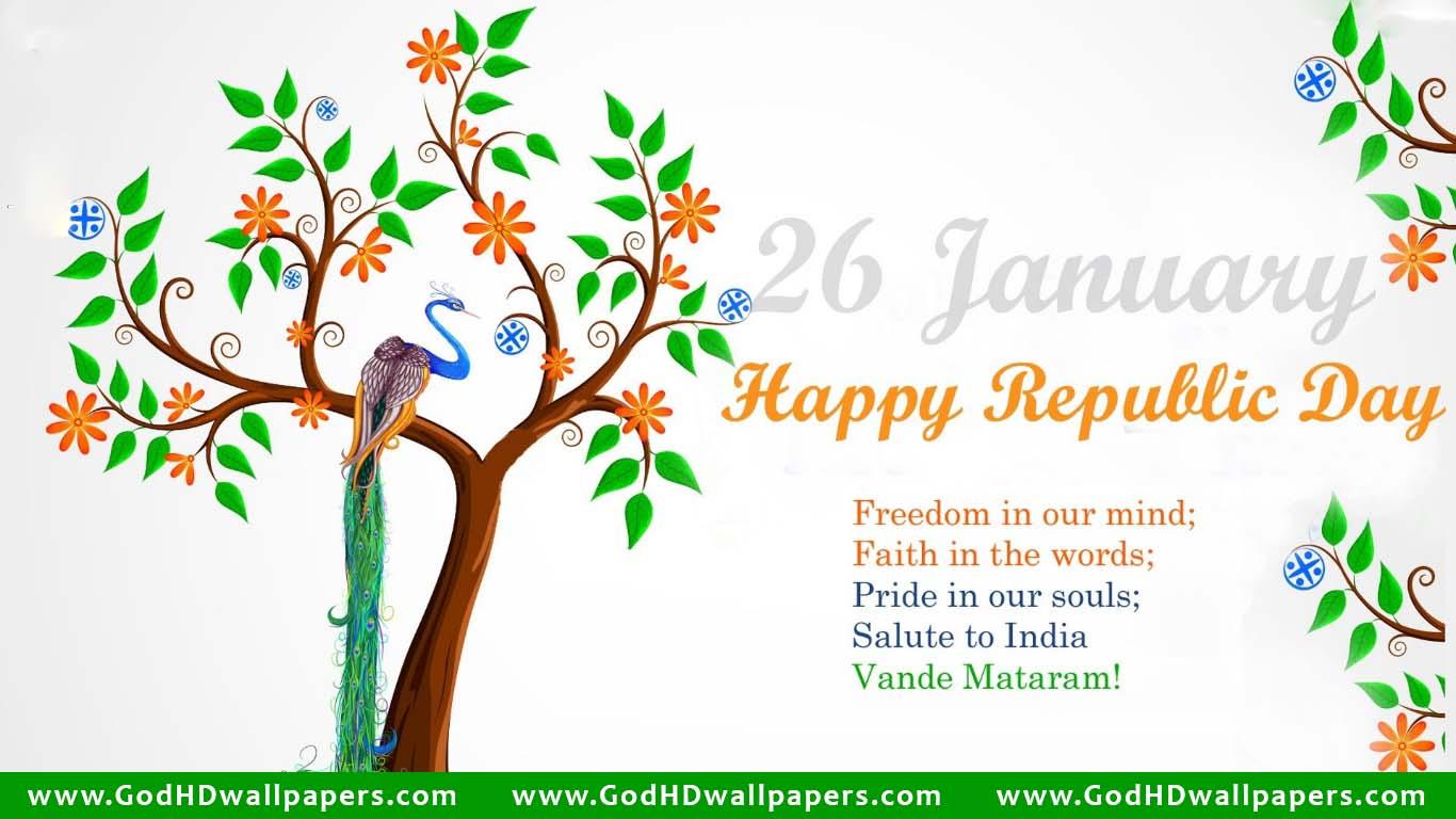 Indian Republic Day Greeting Quote Desktop Laptop Wallpaper