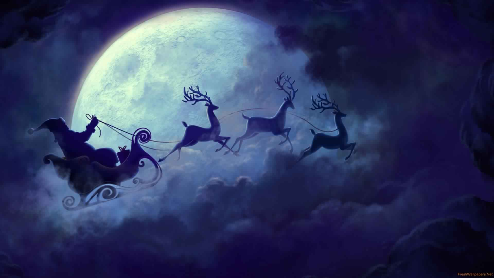 Best Santa Wallpaper Santas Sleigh And His Reindeer Full Moon Night 1920×1080
