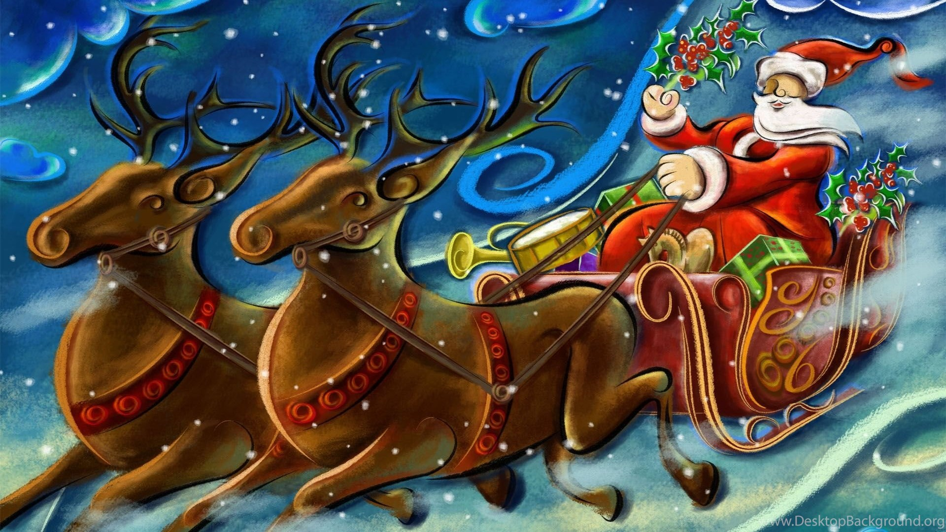 Cartoon Pictures Of Santa Claus And His Reindeer