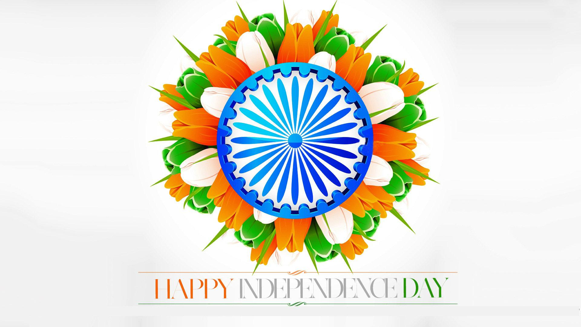 Happy Republic Day Flowers Orange White Green Image