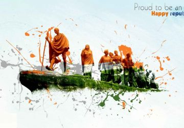 Republic Day With Mahatma Gandhi 1080P Wallpaper