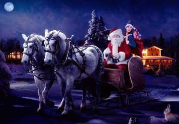 Santa Claus Carriage With Eight Deer Desktop Hd Wallpaper For Pc Tablet Android Mobile Download 1366×768 1920×1080