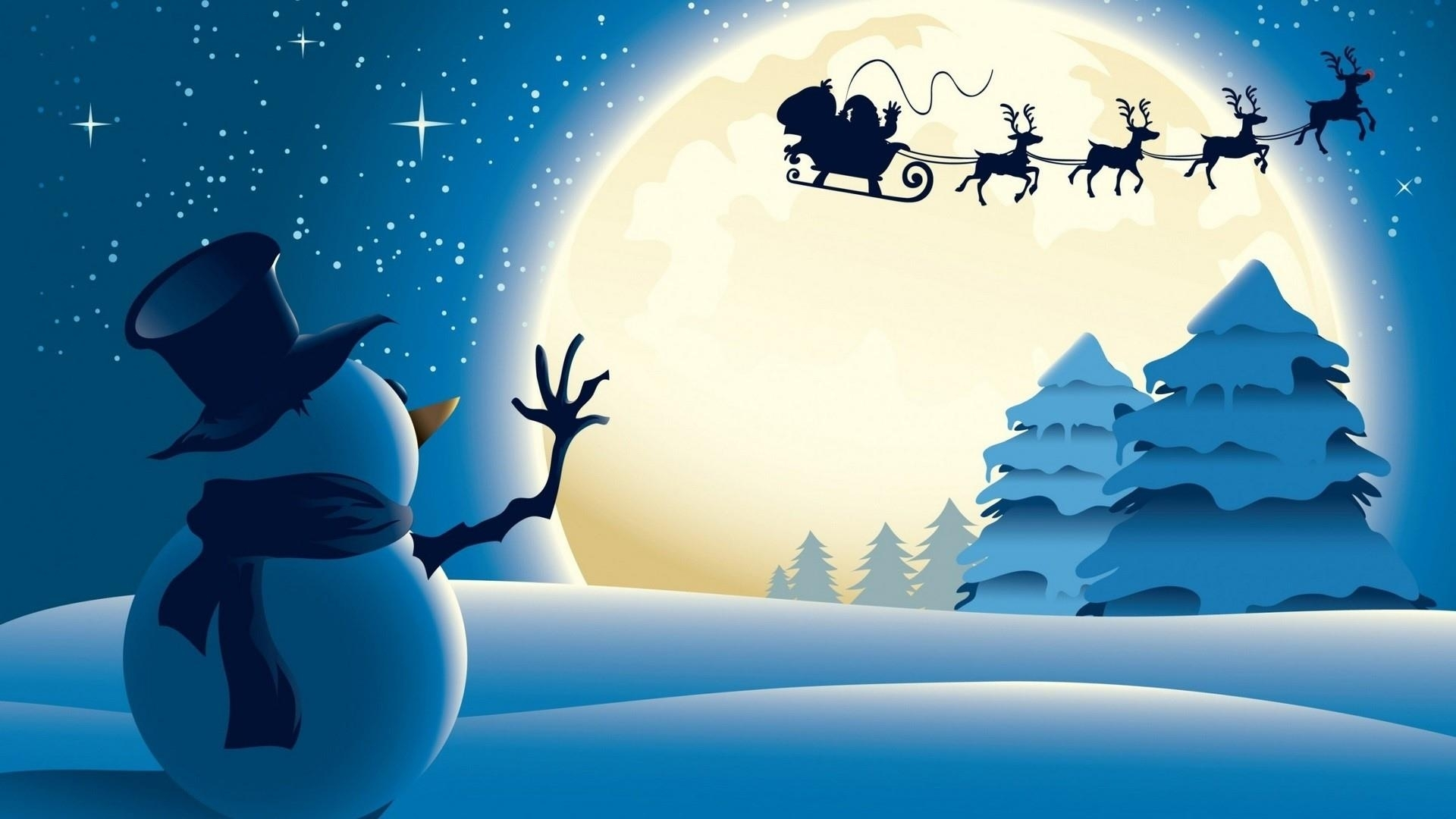 Santa Claus Fly By The Moon