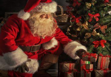Santa Claus Gift Flower Wallpaper Download