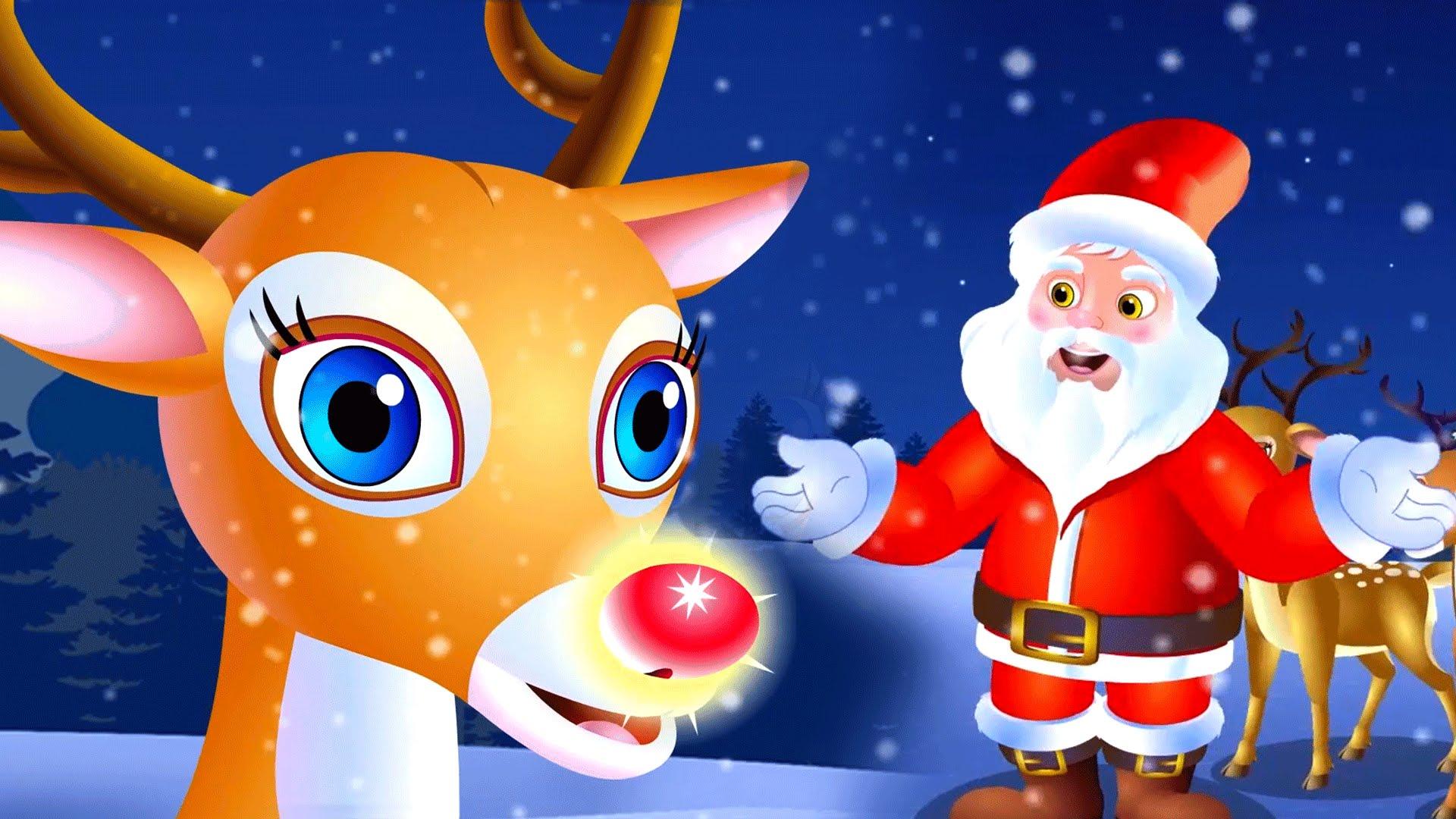 Santa Claus With Reindeer Wallpaper