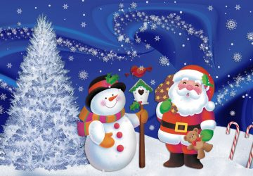 Snowman Santa Claus Wallpaper Download