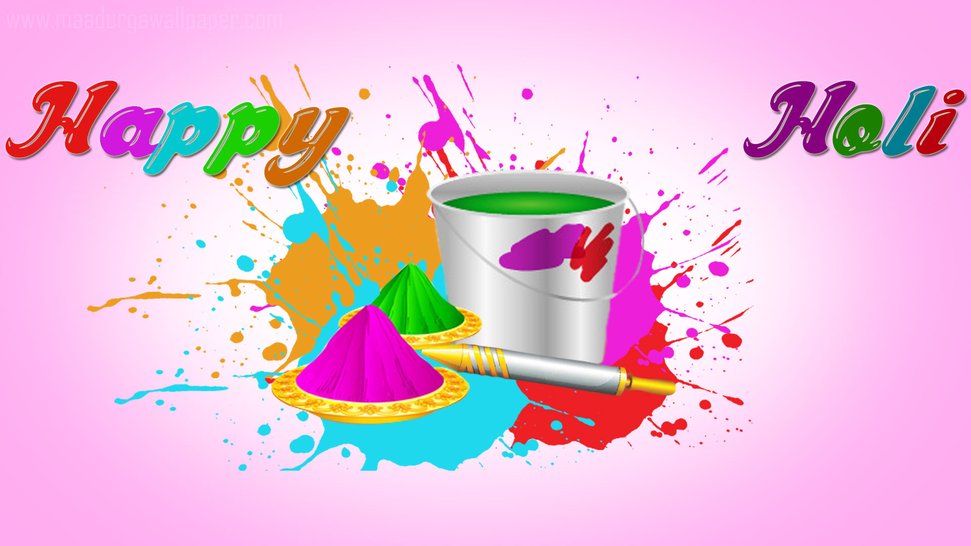 Water Color In Bucket Happy Holi Hd Wallpaper